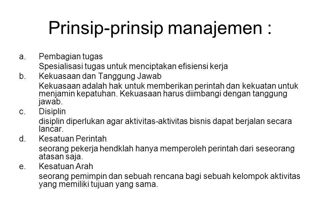 Prinsip-prinsip manajemen :