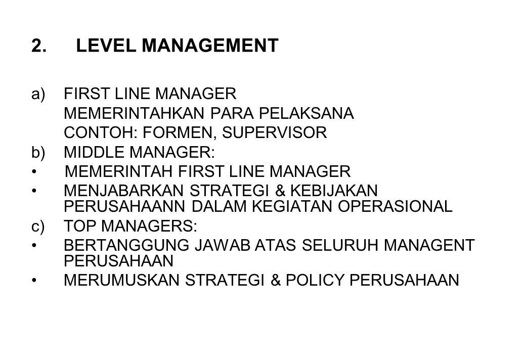 LEVEL MANAGEMENT FIRST LINE MANAGER MEMERINTAHKAN PARA PELAKSANA