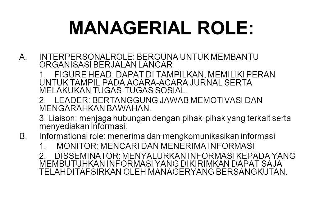 MANAGERIAL ROLE: INTERPERSONALROLE: BERGUNA UNTUK MEMBANTU ORGANISASI BERJALAN LANCAR.