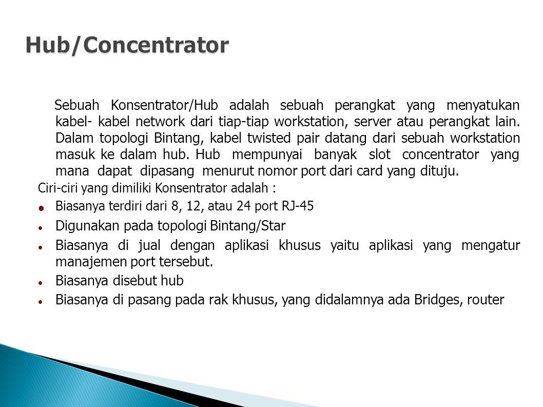 Hub/Concentrator Ciri-ciri yang dimiliki Konsentrator adalah :