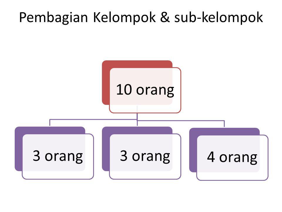 Pembagian Kelompok & sub-kelompok