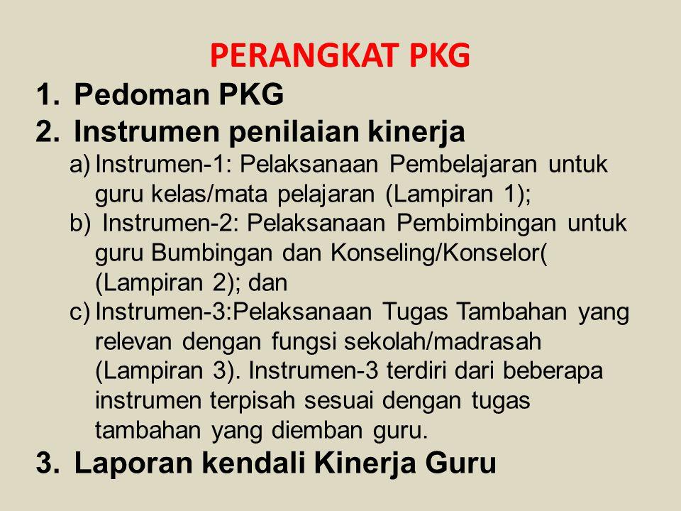 PERANGKAT PKG Pedoman PKG Instrumen penilaian kinerja
