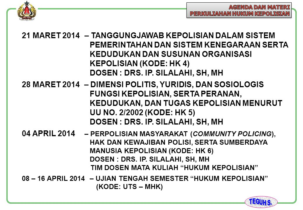 DOSEN : DRS. IP. SILALAHI, SH, MH