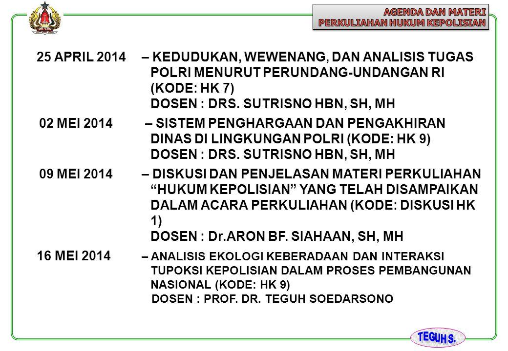 DOSEN : DRS. SUTRISNO HBN, SH, MH