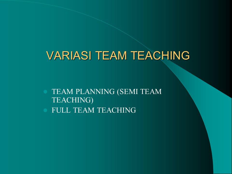 VARIASI TEAM TEACHING TEAM PLANNING (SEMI TEAM TEACHING)