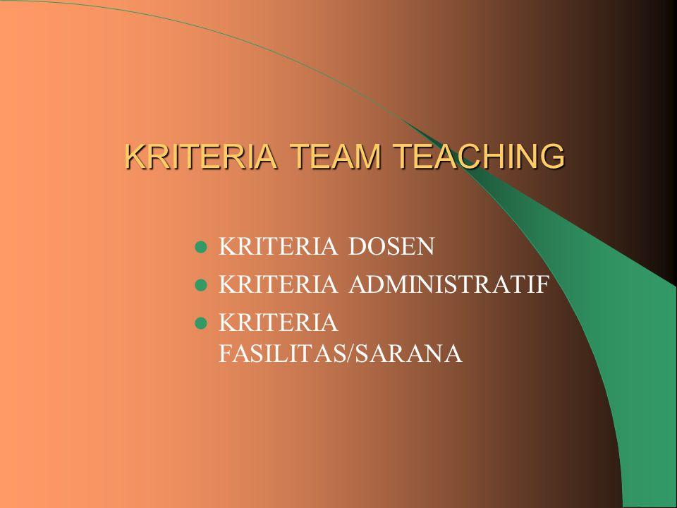 KRITERIA TEAM TEACHING