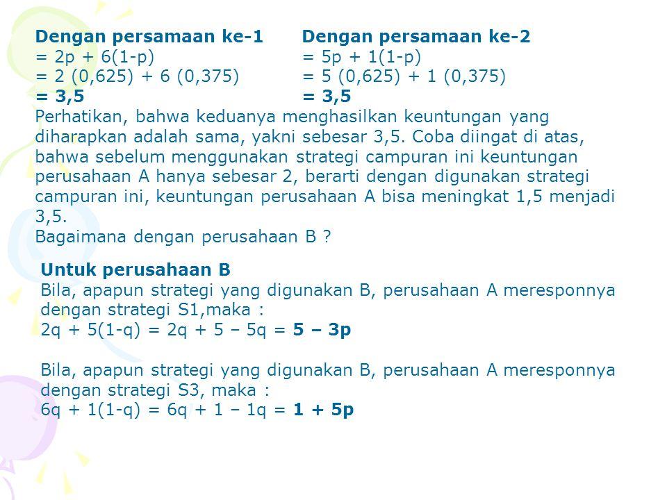 Dengan persamaan ke-1 Dengan persamaan ke-2