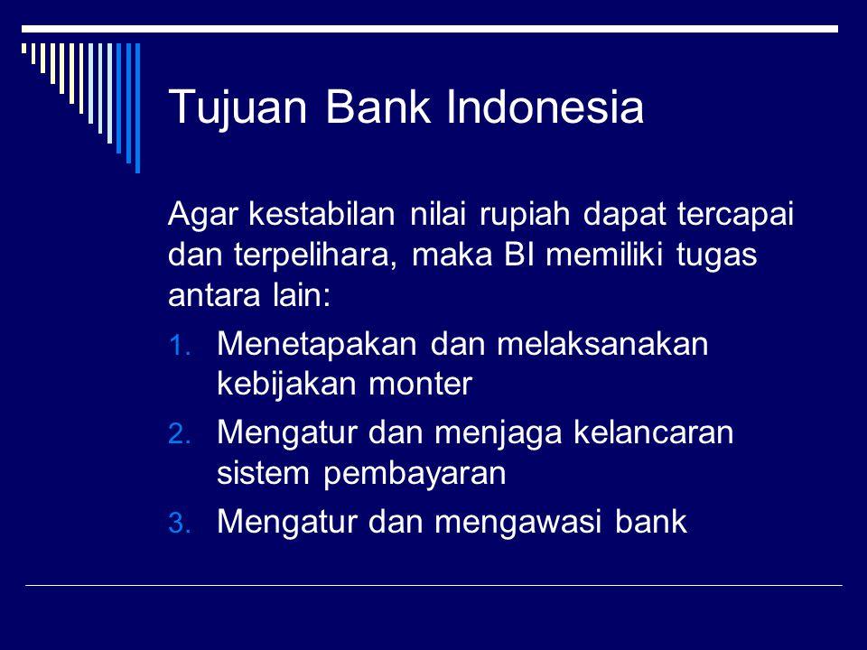 Tujuan Bank Indonesia Agar kestabilan nilai rupiah dapat tercapai dan terpelihara, maka BI memiliki tugas antara lain: