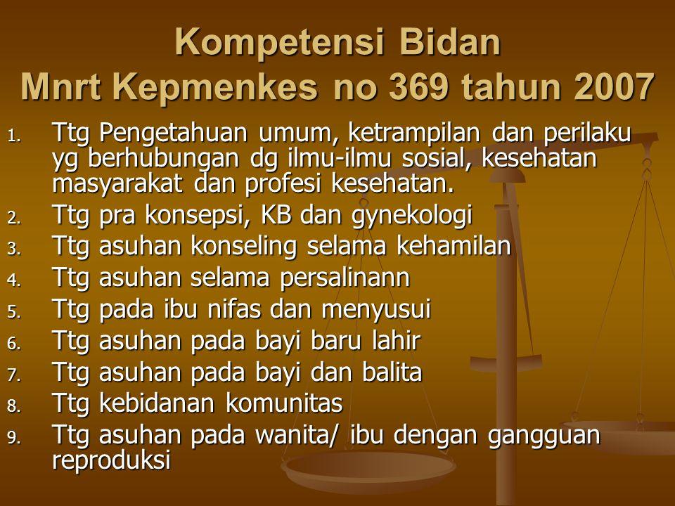 Kompetensi Bidan Mnrt Kepmenkes no 369 tahun 2007