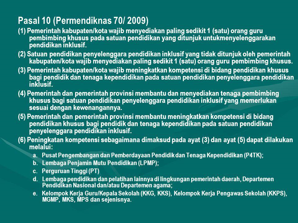 Pasal 10 (Permendiknas 70/ 2009)