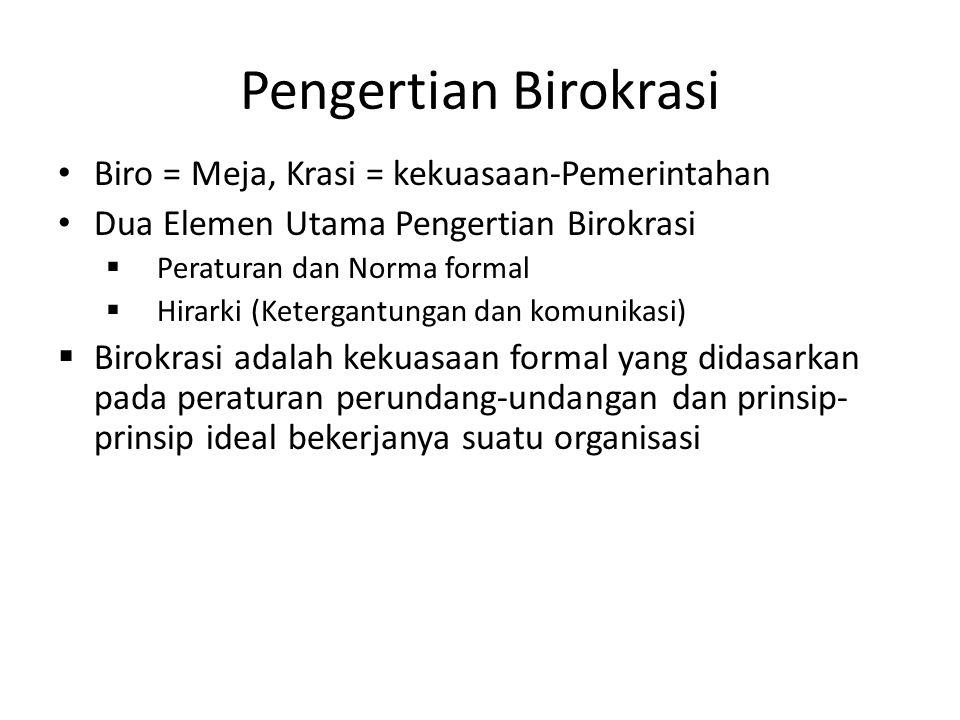 Pengertian Birokrasi Biro = Meja, Krasi = kekuasaan-Pemerintahan