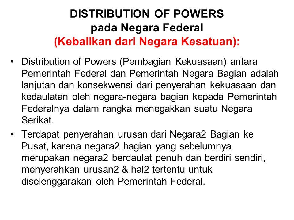 DISTRIBUTION OF POWERS pada Negara Federal (Kebalikan dari Negara Kesatuan):