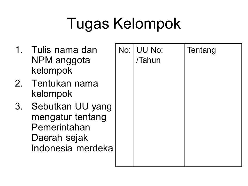 Tugas Kelompok Tulis nama dan NPM anggota kelompok