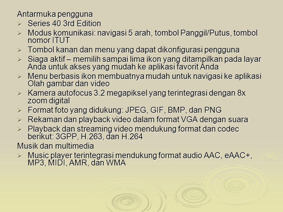 Antarmuka pengguna Series 40 3rd Edition. Modus komunikasi: navigasi 5 arah, tombol Panggil/Putus, tombol nomor ITUT.