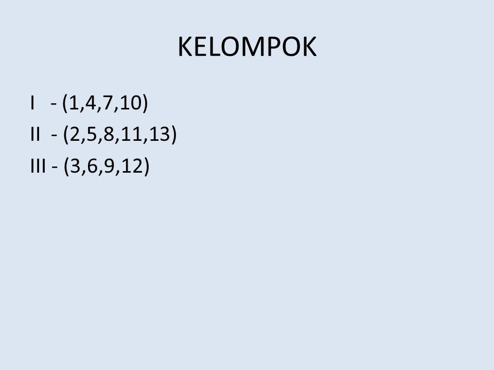 KELOMPOK I - (1,4,7,10) II - (2,5,8,11,13) III - (3,6,9,12)