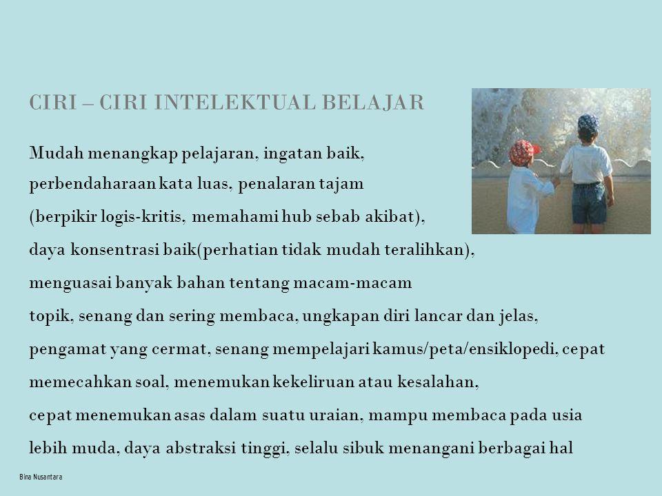 CIRI – CIRI INTELEKTUAL BELAJAR