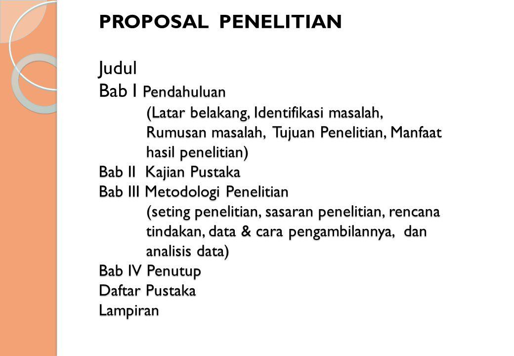 PROPOSAL PENELITIAN Judul Bab I Pendahuluan