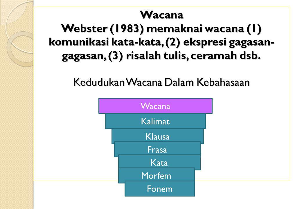 Wacana Webster (1983) memaknai wacana (1) komunikasi kata-kata, (2) ekspresi gagasan-gagasan, (3) risalah tulis, ceramah dsb. Kedudukan Wacana Dalam Kebahasaan