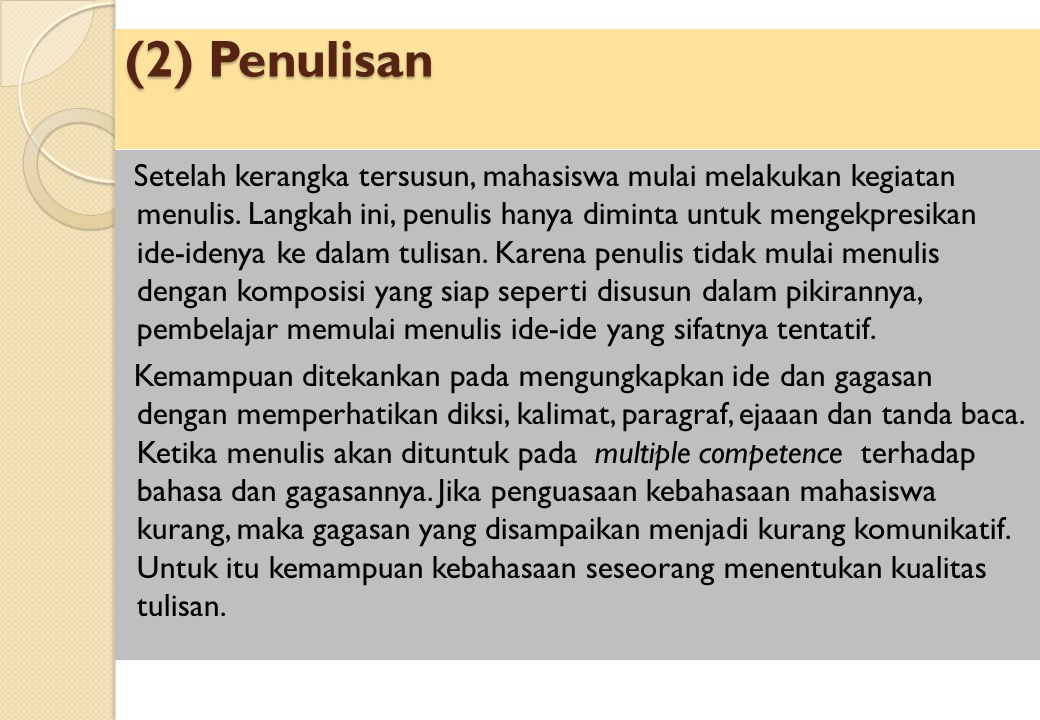 (2) Penulisan
