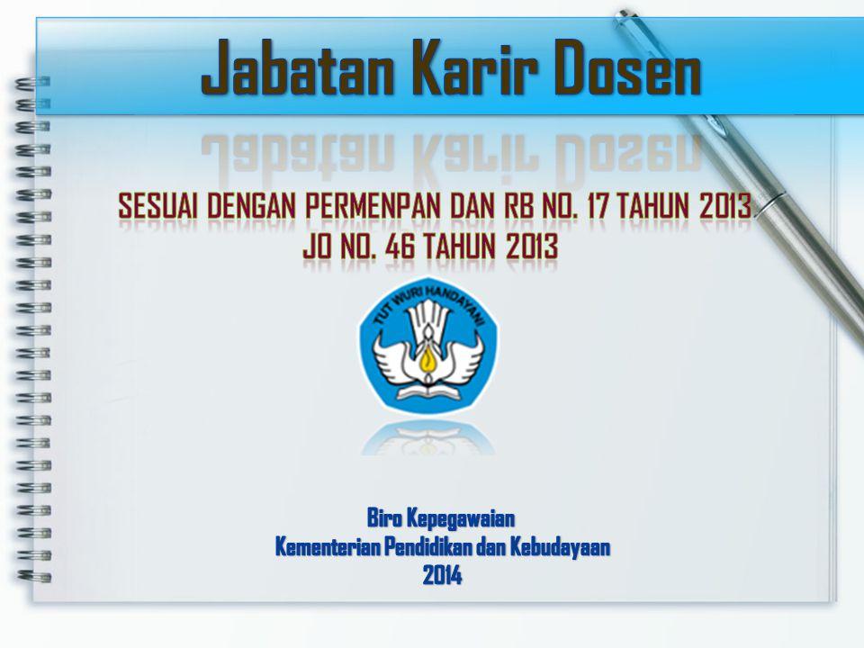Jabatan Karir Dosen Sesuai dengan Permenpan dan RB No. 17 Tahun 2013