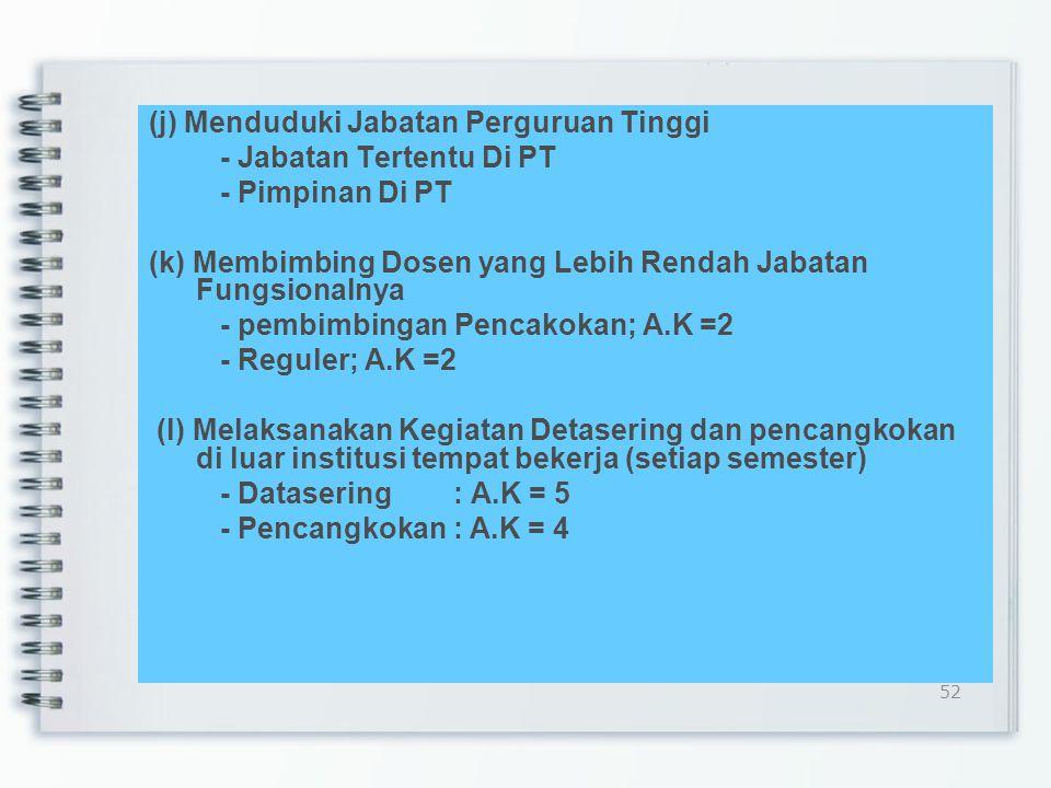 (j) Menduduki Jabatan Perguruan Tinggi - Jabatan Tertentu Di PT - Pimpinan Di PT (k) Membimbing Dosen yang Lebih Rendah Jabatan Fungsionalnya - pembimbingan Pencakokan; A.K =2 - Reguler; A.K =2 (l) Melaksanakan Kegiatan Detasering dan pencangkokan di luar institusi tempat bekerja (setiap semester) - Datasering : A.K = 5 - Pencangkokan : A.K = 4