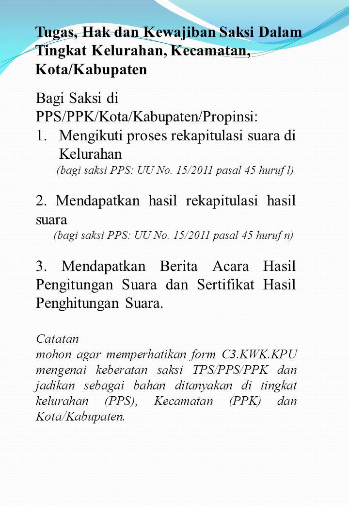 Bagi Saksi di PPS/PPK/Kota/Kabupaten/Propinsi: