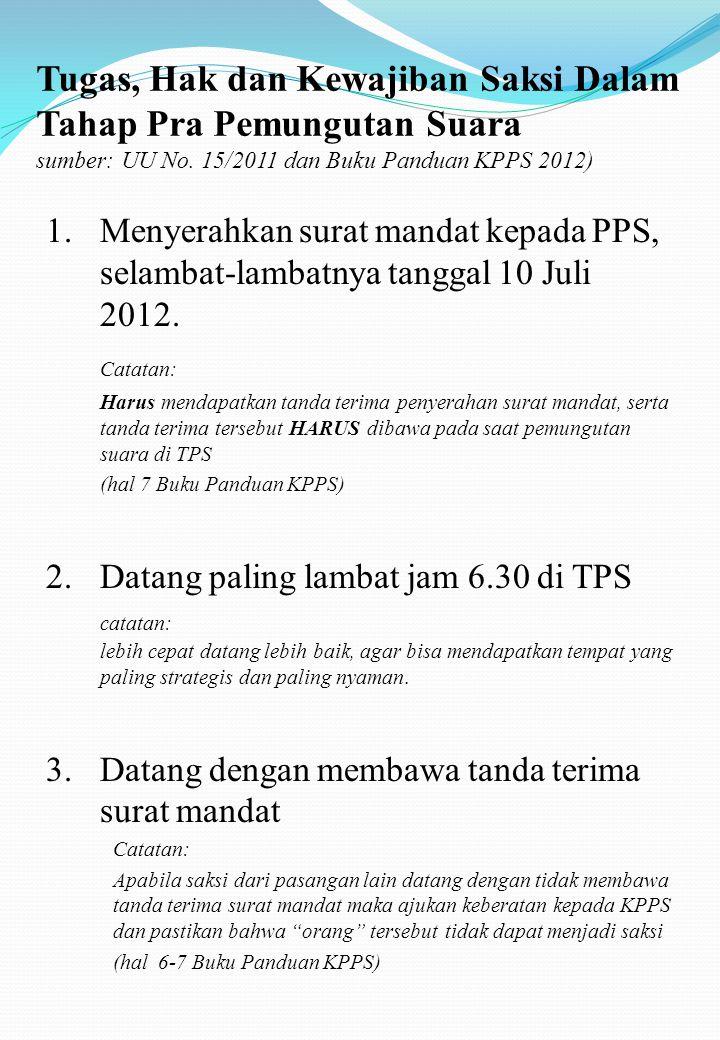 Tugas, Hak dan Kewajiban Saksi Dalam Tahap Pra Pemungutan Suara sumber: UU No. 15/2011 dan Buku Panduan KPPS 2012)
