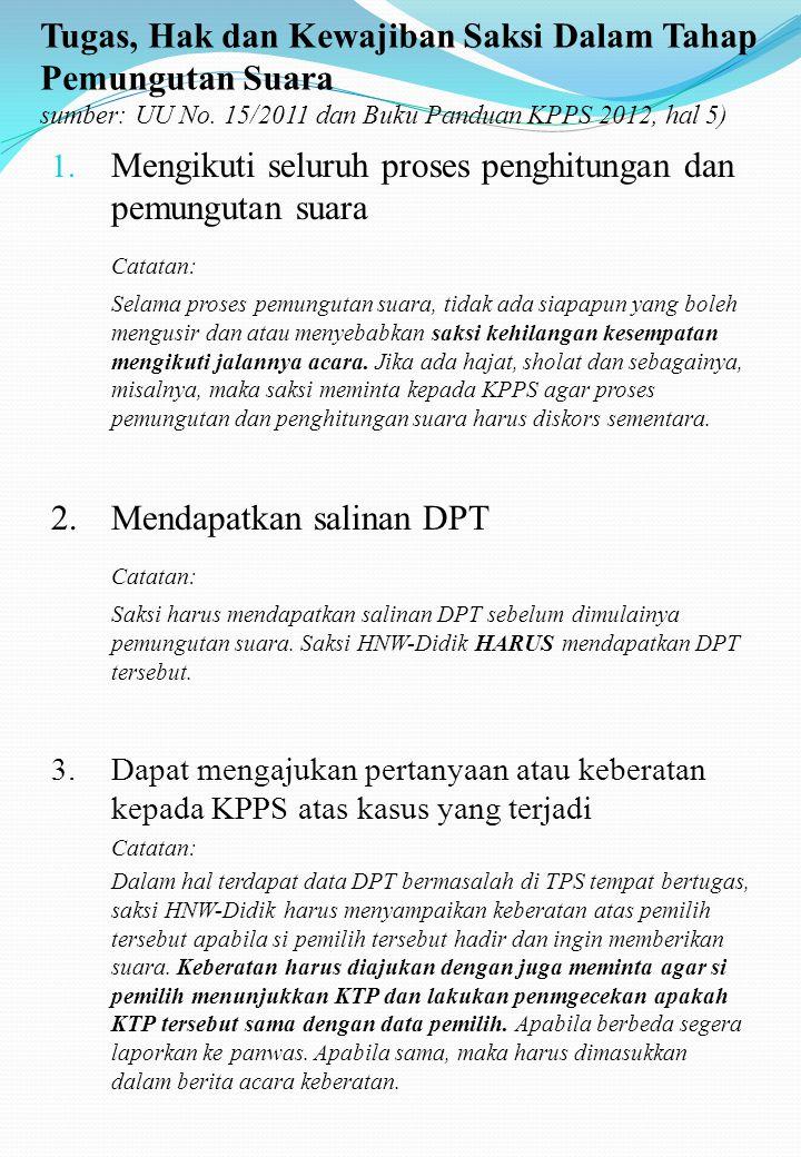 Tugas, Hak dan Kewajiban Saksi Dalam Tahap Pemungutan Suara sumber: UU No. 15/2011 dan Buku Panduan KPPS 2012, hal 5)