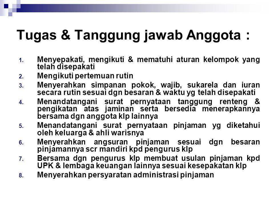 Tugas & Tanggung jawab Anggota :