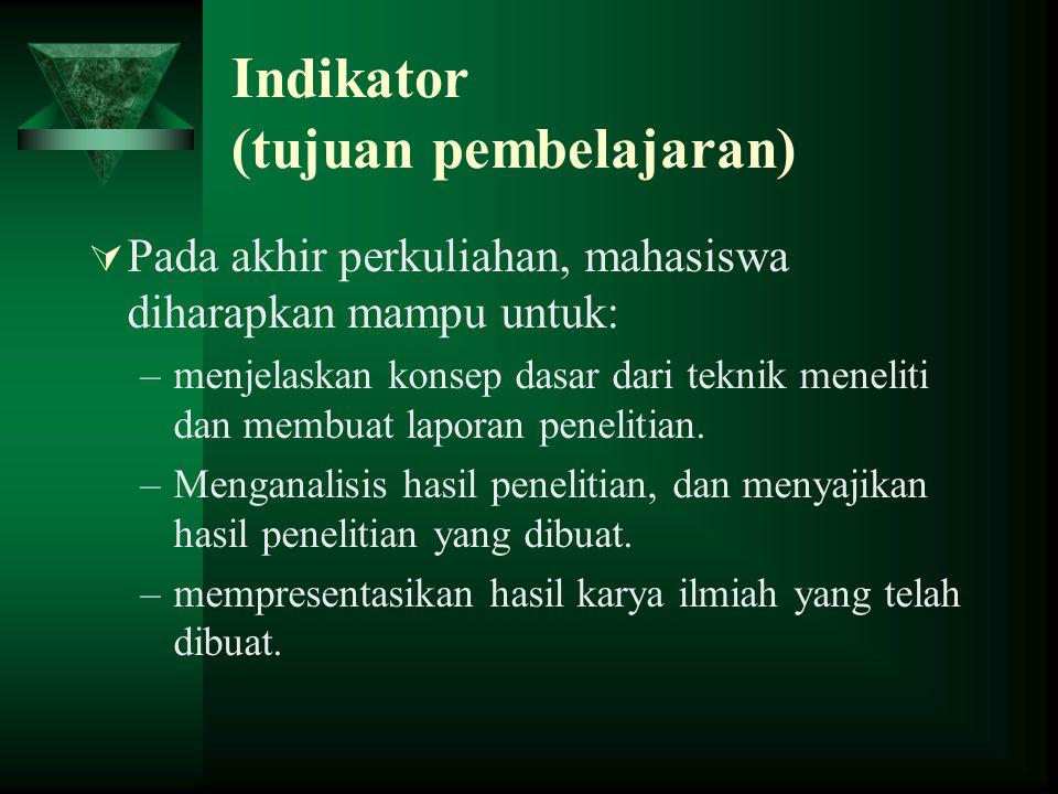 Indikator (tujuan pembelajaran)