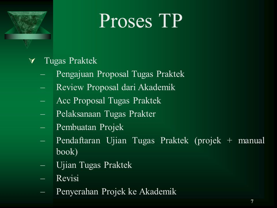 Proses TP Tugas Praktek Pengajuan Proposal Tugas Praktek