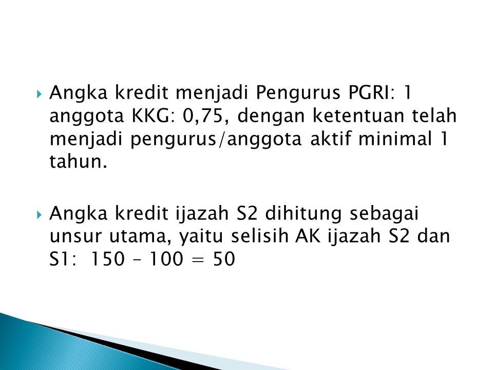 Angka kredit menjadi Pengurus PGRI: 1 anggota KKG: 0,75, dengan ketentuan telah menjadi pengurus/anggota aktif minimal 1 tahun.