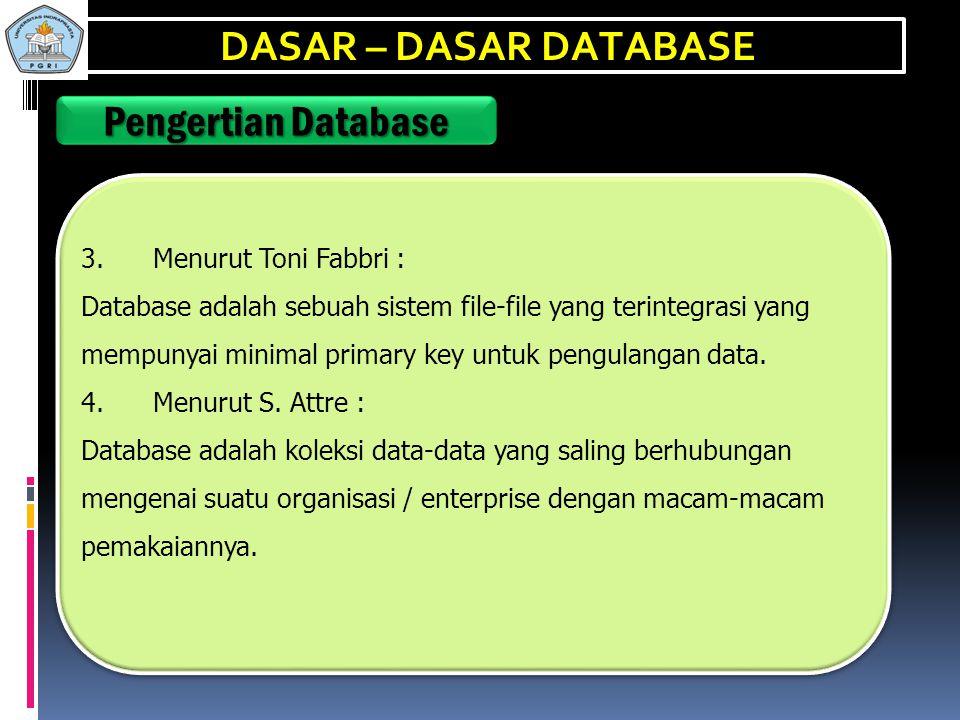 DASAR – DASAR DATABASE Pengertian Database 3. Menurut Toni Fabbri :