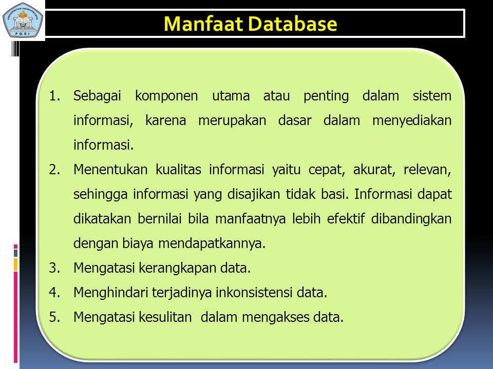 Manfaat Database Sebagai komponen utama atau penting dalam sistem informasi, karena merupakan dasar dalam menyediakan informasi.