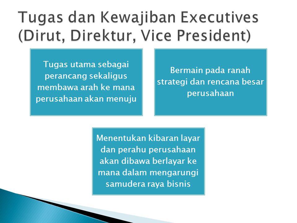 Tugas dan Kewajiban Executives (Dirut, Direktur, Vice President)