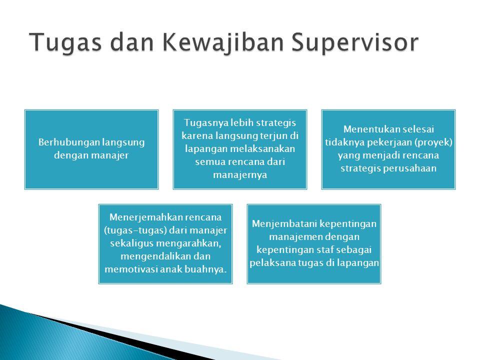 Tugas dan Kewajiban Supervisor