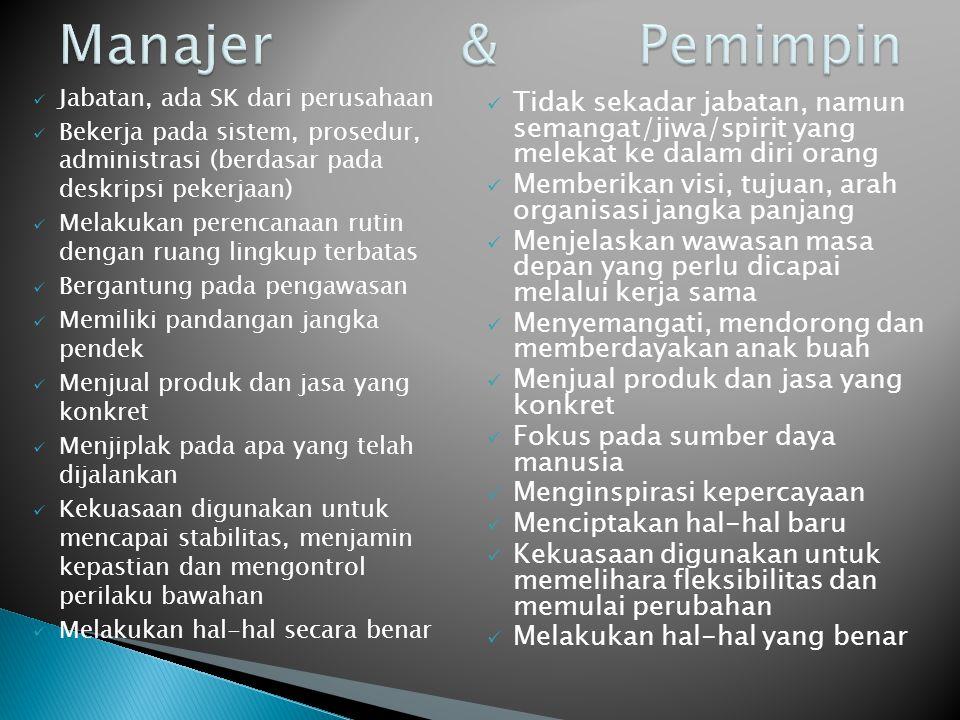 Manajer & Pemimpin Jabatan, ada SK dari perusahaan.