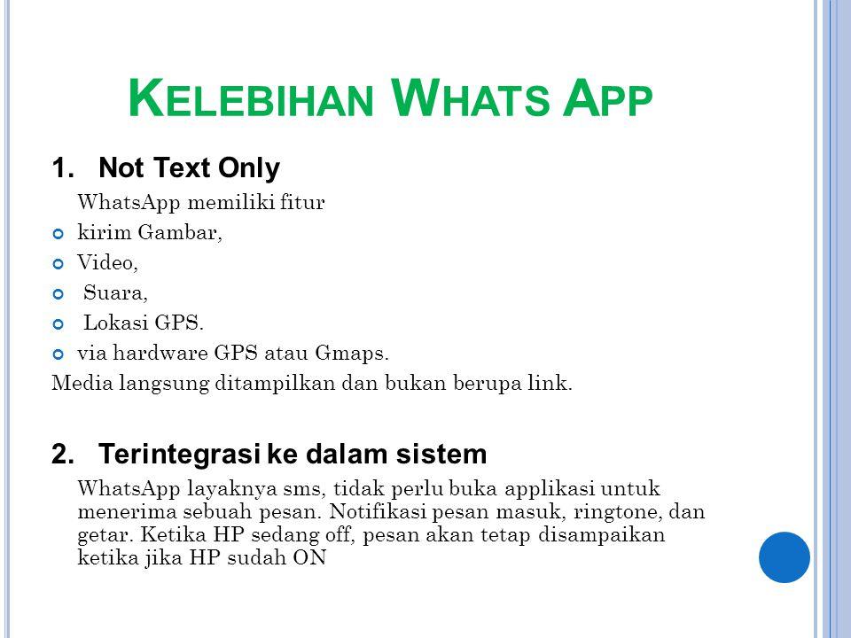 Kelebihan Whats App 1. Not Text Only 2. Terintegrasi ke dalam sistem