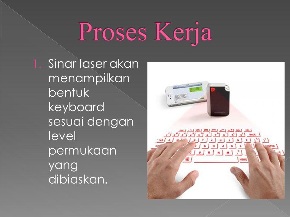 Proses Kerja Sinar laser akan menampilkan bentuk keyboard sesuai dengan level permukaan yang dibiaskan.