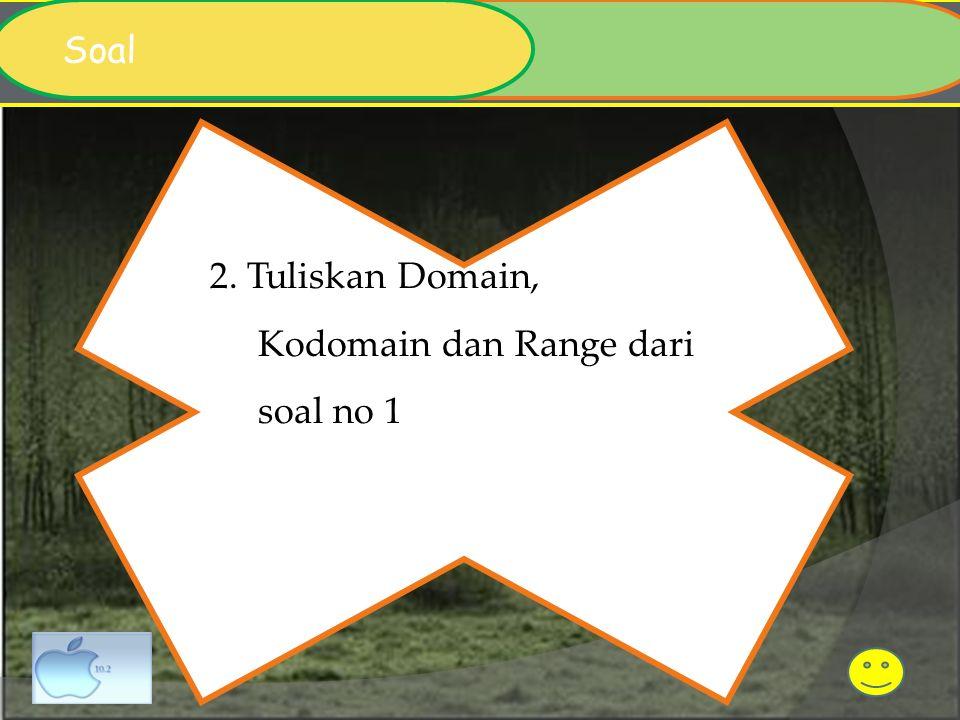 Soal 2. Tuliskan Domain, Kodomain dan Range dari soal no 1