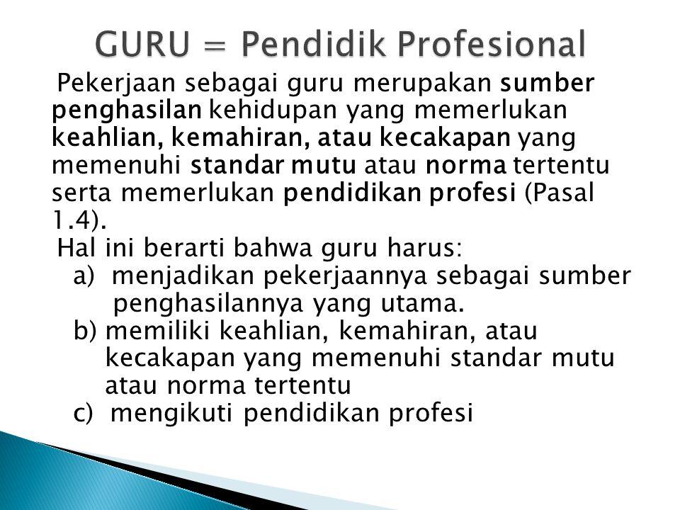 GURU = Pendidik Profesional