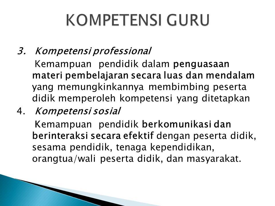 KOMPETENSI GURU 3. Kompetensi professional