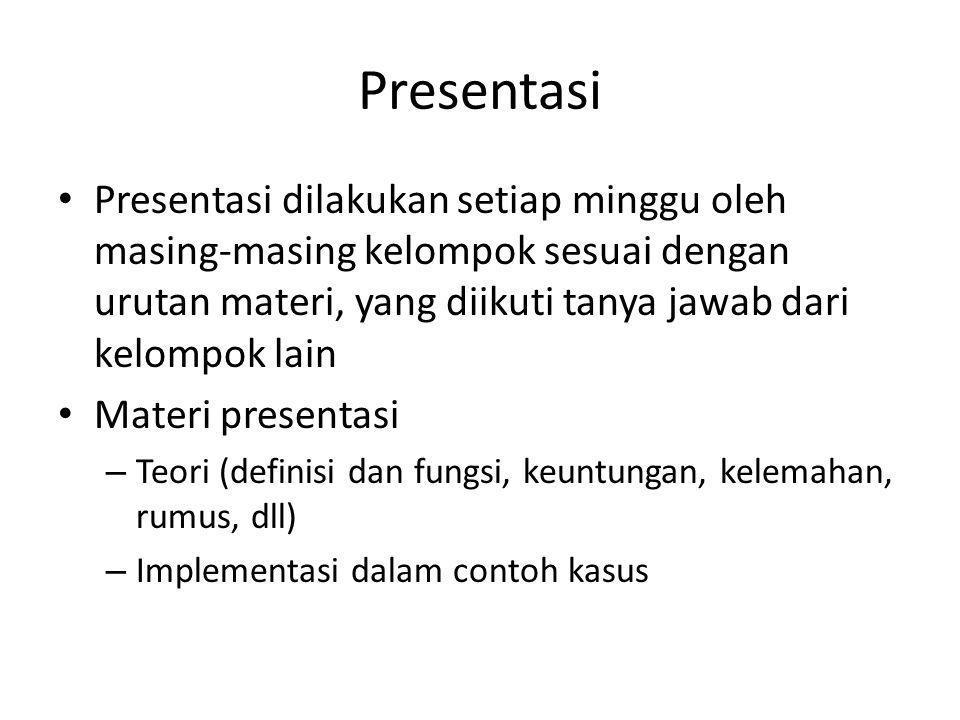 Presentasi Presentasi dilakukan setiap minggu oleh masing-masing kelompok sesuai dengan urutan materi, yang diikuti tanya jawab dari kelompok lain.