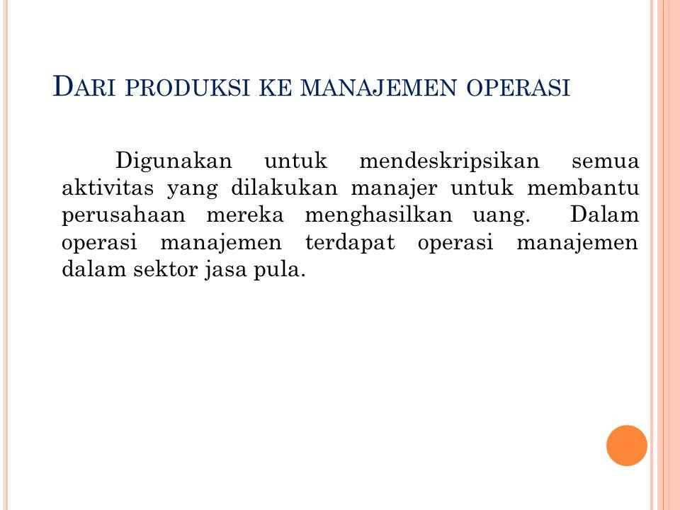 Dari produksi ke manajemen operasi
