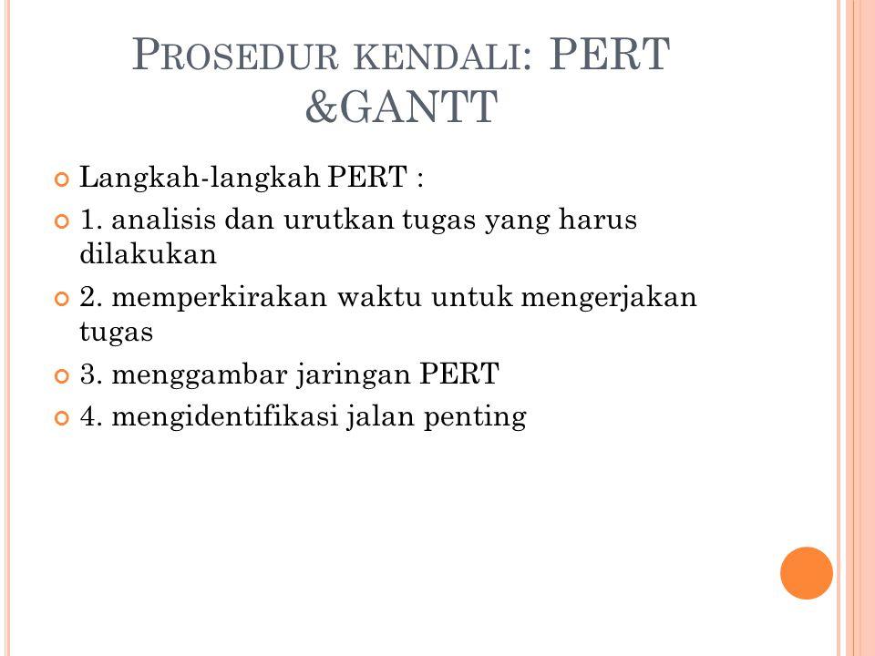 Prosedur kendali: PERT &GANTT