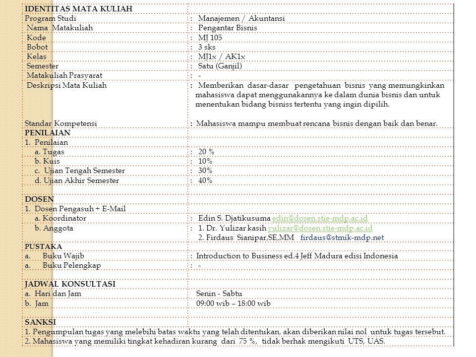 : Manajemen / Akuntansi Nama Matakuliah : Pengantar Bisnis Kode