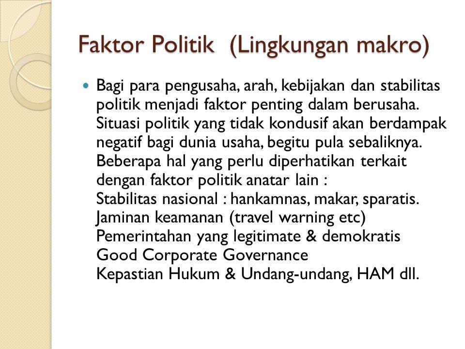 Faktor Politik (Lingkungan makro)