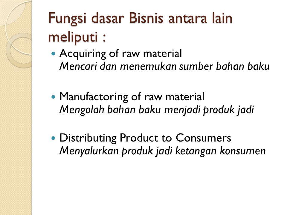 Fungsi dasar Bisnis antara lain meliputi :