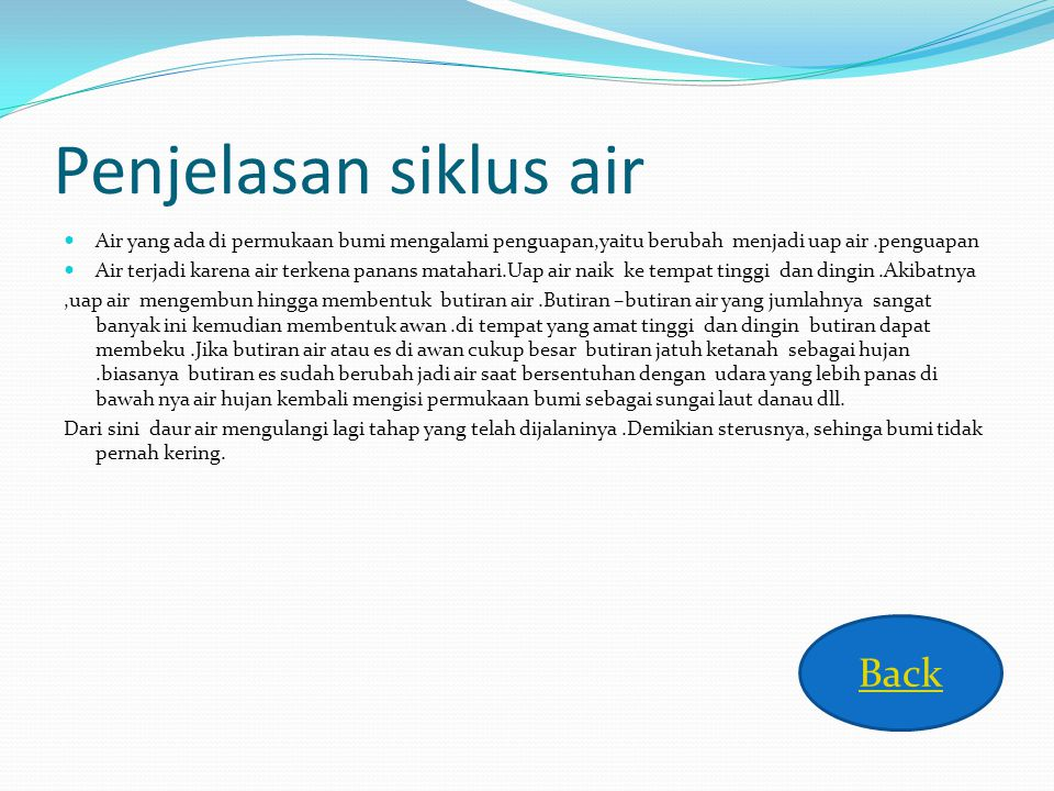 Penjelasan siklus air Back