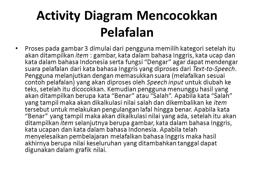 Activity Diagram Mencocokkan Pelafalan